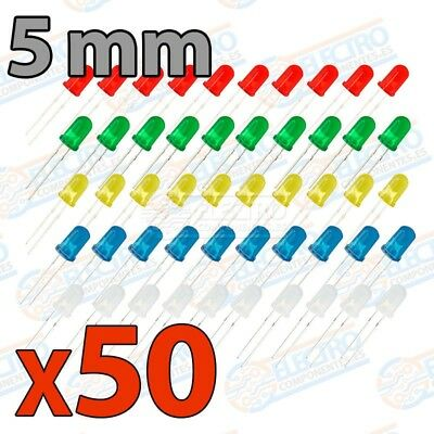 KIT 50 Diodos LED 5mm difusos ROJO AMARILLO VERDE AZUL BLANCO colores