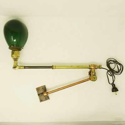 Antique Ornate Vintage Industrial Office O.C. White Telescoping Wall Mount Lamp