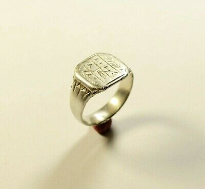 Ancient Roman To Medieval Silver Ring With Decorated Bezel - Wearable