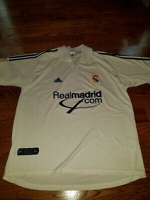 9e4ad70df Real Madrid Adidas Vintage Football Shirt Home 2001 2002 Soccer Jersey Size  XL