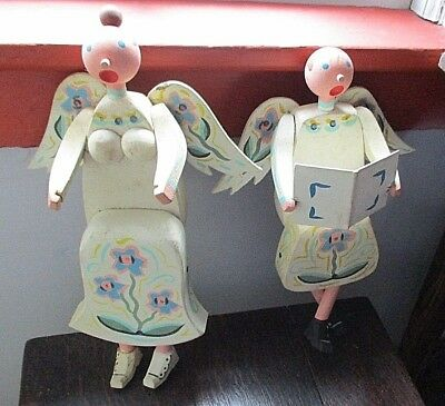 Antique Folk Art Wood Angels Hand Made Painted Primitive Country Shelf Sitters
