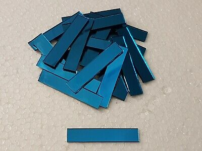 25 pieces, Turquoise Glass Mirror, 1 x 5 cm, 1.6 mm Thick, Art&Craft,