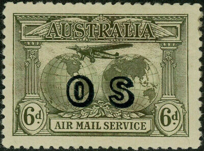 Australia 6d sepia mint Air Mail Service - OS overprinted
