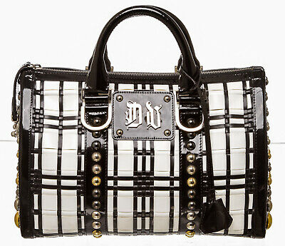 f4a83c9a78b9 Versace Black and White Leather Studded Boston Bag
