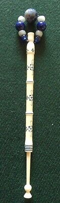Bone Lacemaking Bobbin with Spangle, Make? Initials ND and 86/98, Lovely Item