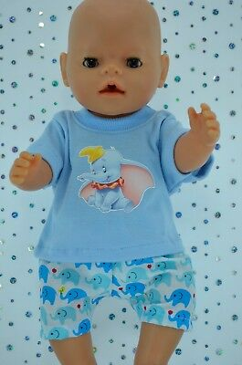 """Play n Wear Doll Clothes To Fit 17"""" Baby Born ELEPHANT SHORTS~T-SHIRT"""