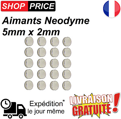 Lot 20 Aimants Frigo Neodyme Neodium Rond Fort Strong Magnet 5 mm x 2 mm (NEUF)