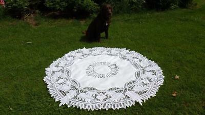 """Antique Round White Linen Cotton Tablecloth Circle 68"""" Grapes Leaves Open Work"""