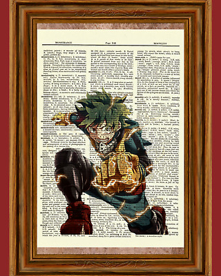 Izuku Midoriya Dictionary Art Print My Hero Academia Anime Picture