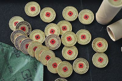 RSL 2012 $2 red poppy remembrance coin EX MINT ROLL One coin only