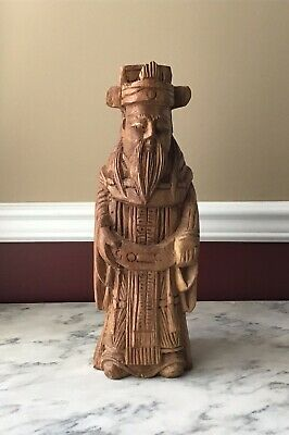 Antique Large And Heavy Carved Wooden Statue Of A Wise Man