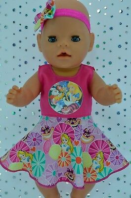 "Play n Wear Dolls Clothes For 17""Baby Born HOT PINK CIRCLE DRESS~HEADBAND"