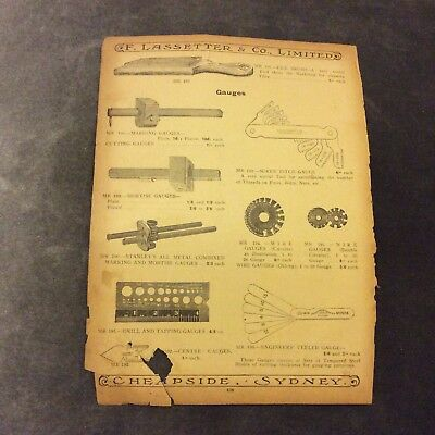 Antique Catalogue Page - Gauges, Files & Rasp