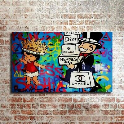 Alec Monopoly Shopping Hand painted oil painting on canvas 24x36 inch #02