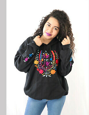 Hand Embroidered Womens Mexican Hoodie Sweatshirt Sudadera Mexicana Bordada