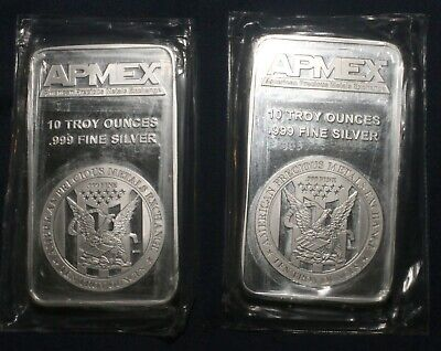 Two (2) Apmex 10 Troy Oz Bars 0.999 Fine Silver (20 Oz Tot)  Lot 230841