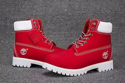 red and white timberlands mens