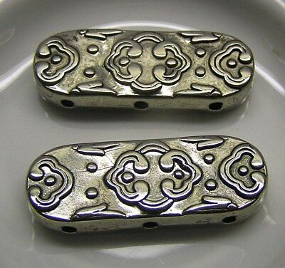 Bead Spacer Bar, 3 strand, 35x13mm, antique silver plate, metal x 4