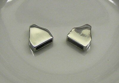 """Cord end, imitation rhodium-finished """"pewter"""", 11x10mm x 2"""