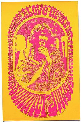 FREE SHIPPING! Psychedelic Hippie Poster Love-In in San Francisco 1967 ORIGINAL