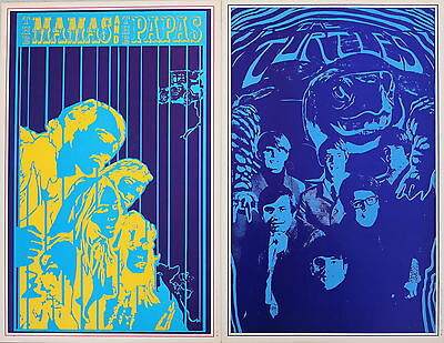 Mamas & The Papas Turtles Pair Psychedelic Rock n' Roll Posters 1967 SUMMER SALE