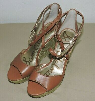 82d431873921a Sam Edelman Turner Women s Shoes Brown Leather Espadrille Wedges Size 8.5 M