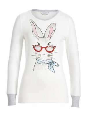 New Peter Alexander Bunny Thermal Pyjama Pj Long Sleeve Top Womens Size Small S