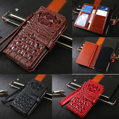 Luxury Flip Leather 8 Credit Card Slot Wallet Case Hand Strap Purse Cover