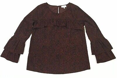 Lucky Brand Womens Red Black printed ruffle bell sleeve blouse Top Shirt Small