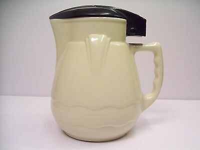 Vintage Art Deco NILSEN Ceramic Jug w Bakelite Top + Cord -Antique Coffee Kettle