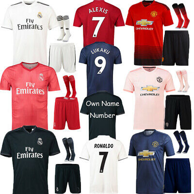 18/19 Soccer Suits Football Kits Short Sleeve Shirts Jerseys For Kids Boys 3-14Y