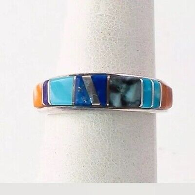 Native American Navajo Sterling Silver Ring. Inc Turquoise & Lapis. Size N