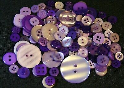 100 Purple Resin Buttons - Sewing, Craft, Scrapbooking