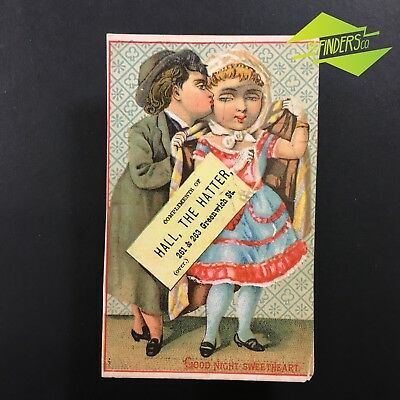 """c.1880 """"HALL THE HATTER"""" ADVERTISING CARD BLOTTER TRADE COLLECTOR CARD NEW YORK"""