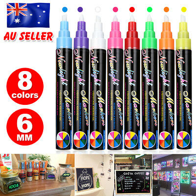 8x  Dual Nib Neon Liquid Chalk 6mm Pen Marker Blackboard Glass Window Pens