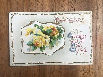 """ANTIQUE INTERESTING 1920's """"REMEMBRANCE"""" FLORAL EMBOSSED POST CARD (PF1-29)"""