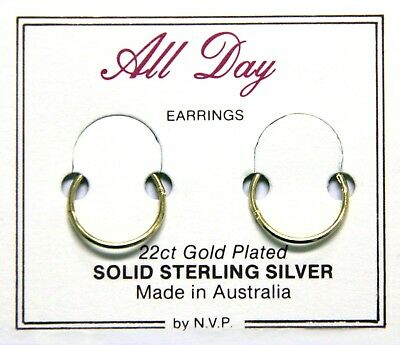 22ct Gold Plated Sterling Silver Hinged Sleepers 10mm to 16mm