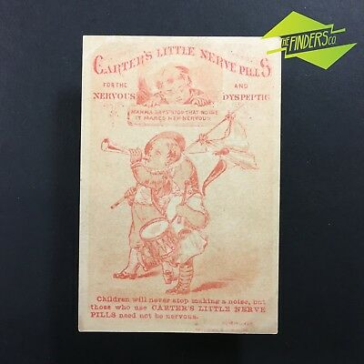 "c.1880 ""CARTER'S CHILDRENS NERVE PILLS"" ADVERTISING TRADE BUSINESS CARD NY USA"