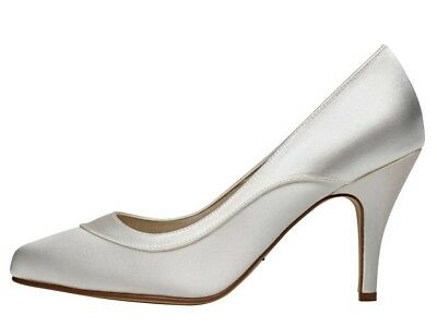 fd324767af9 RAINBOW CLUB NICOLE Extra Wide Fit Satin Court Wedding Shoes Ivory ...