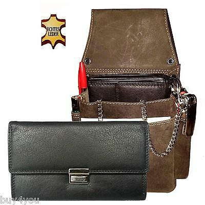 Real Leather Server Set 3-pc Wallet Server Case Holster Wallet Belt Bag