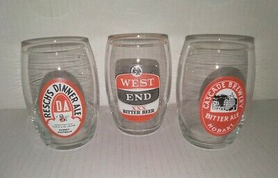 3 small collectable beer glasses Reschs DA, West End & Cascade