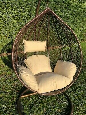 Extra Large Patio Hanging Chair Garden Brown Rattan Swing Comfortable Egg Chair