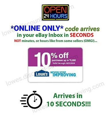 LOWES 10% OFF ONLINE ONLY 1coupon- good to 3/31 SAVE $500 PER ONLINE CODE
