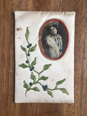 ANTIQUE c.1900's EDWARDIAN FRENCH SILK LINED PORTRAIT PHOTO POST CARD (PF1-31)