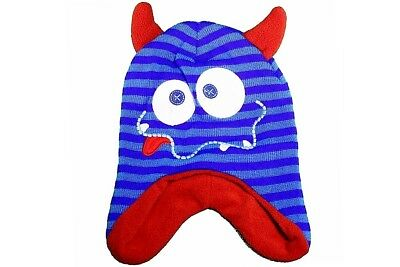 Knit Fun Rayas Azul Monster Criatura Infantil Sombrero & Mitones Set de Invierno