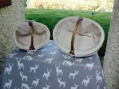 Willow Antique Wash Tapered Set Of 2 Lined Shopping Baskets. Fabulous Gift