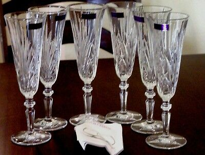 Marquis by Waterford Newberry Set of Six Champagne Flutes, Made in Germany New