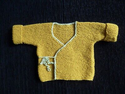Baby clothes BOY premature/tiny<7.5lbs/3.4kg gold/pale green wrapover cardigan