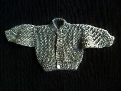 Baby clothes BOY premature/tiny<7.5lbs/3.4kg mid-grey chunky cardigan SEE SHOP!