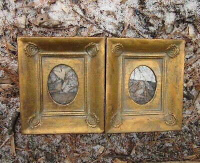 c1900 Excellent Pair Gilded Swirled Folk Primitive Miniature Antique Frames